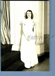 Found Bandw Photo Q+2030 Pretty Woman In Dress Posed Smiling