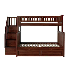 Atlantic Furniture Columbia Staircase Bunk Bed Full Over Full With Twin Size Rai