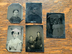 Lot Of 5 Assorted Antique Tintype Photographs Small Size 2-1/2 X 1-3/4