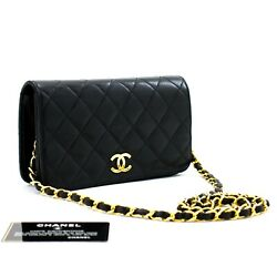 D82 Authentic Full Flap Chain Shoulder Bag Clutch Black Quilted Lambskin