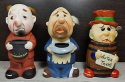 Chalkware Man In Barrel After Taxes Old Man Retirement Fund Piggy Bank Set Of 3