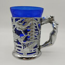 Vtg Far Eastern Dragon Design Silver Blue Glass Tankard With Naked Lady Handle