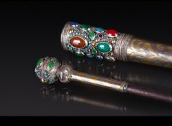 Antique Silver Torah Pointer Yad With Stones 800 Mark Hand Made In Case