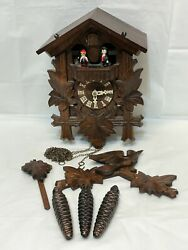 Vintage Black Forest Cuckoo Clock Germany The Happy Wanderer -for Parts / Repair