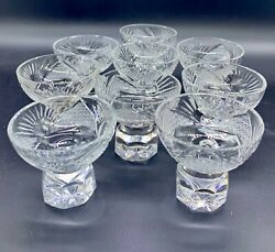 Vintage Cut Glass Or Crystal Russian Or Czech Shot Glass Set 9 Mid Century