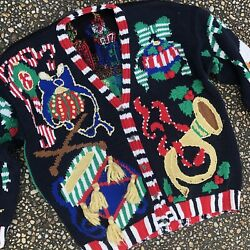 Vintage Lisa Coufal Holy Grail Mother Of All Busy Ugly Christmas Sweater L Xl