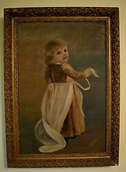 19c Antique Oil On Canvas Painting Victorian Child Girl Folk Art Signed Crews