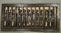 Rare Vtg Hand Carved Wood Relief Panel African Tribal Women Figures