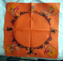 Vintage / Antique Halloween Crepe Paper Napkin Flying Witches Black Cats Owls