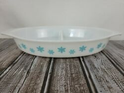 Vintage Pyrex Turquoise Blue Snowflake On White Oval Divided Dish Mint - Euc