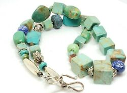 Handmade Unique Carved Cube Turquoise Beaded Southwest Statement Necklace B5