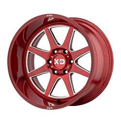 22x12 4 Wheels Rims Xd Xd844 Pike Brushed Red With Milled Accent -44mm 8x6.69