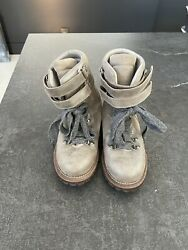Brunello Cucinelli Distressed Leather Combat Boots- Women Size 38 1/2 1500