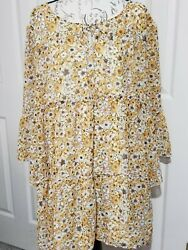 Robert Louis Women 3X Plus Floral Yellow Peasant Tie Sheer Lined Bell Slv Tunic $14.99