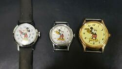 Vintage Bradley Swiss Made Mickey Mouse Wind Up Watch And Other 2 Lorus Watches