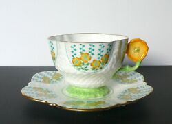 Aynsley Yellow Flower Handle Bone China Tea Cup And Saucer Set