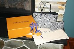 LOUIS VUITTON AUTHENTIC SINCE1854 JACQUARD NEVERFULL WITH POUCH HANDBAG TOTE $1900.00
