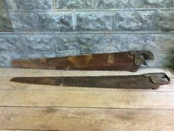 2 Hand Saws Cross Cut Logging Broad Belly Lumberjack Two Man Rustic Country Aw,