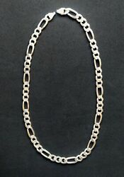 Old Men Chain Necklace Real Solid 925 Sterling Silver 24 Figaro Link 113 Gr