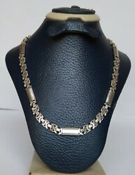 Old Men Chain Necklace Real Solid 925 Sterling Silver Flat Byzantine Link 42 Gr
