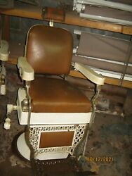 Two Antique Theo A. Koch 1920and039s -30and039s Barber Chairs As Found Pick Up Only