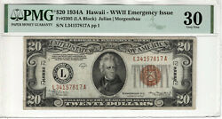 1934 A 20 Federal Reserve Note Hawaii Overprint Wwii Fr.2305 Pmg Vf 30 817a