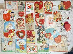 Lot 23 Vintage 1940's Child's Valentine's Day Cards Die Cut Honeycomb Candy Box