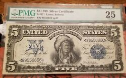 1899 5 Silver Certificate Indian Chief Pmg 25 Very Fine