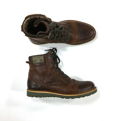 Bull Boxer Boots Mens Size 9 Brown Leather Cap Toe