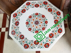24 White Marble Table Top Coffee Mosaic Lapis Inlay Home Decor Antique H2