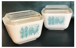 Pyrex Amish Turquoise Butterprint 501 Refrigerator Dishes W/lids - Set Of 2