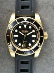 Armida A8 Vintage Brass Dive Watch Black Date Shipped From Usa