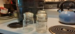 Vintage Lot 10 Ten Glass Pint Ball Ideal Mason Canning Jars Lids And Wire Bail
