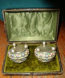 2 Russian Solid Silver Hot Enamel Champleve Salt Bowl Ivan Zakarov Moscow In Box