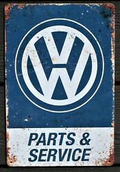 Vw Parts And Service Metal Garage Sign Wall Plaque Vintage Sign Man Cave A3 Size