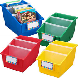 Really Good Stuff Large Plastic Labeled Book And Organizer Bin For Classroom Or