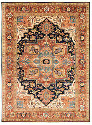Vintage Geometric Hand-knotted Carpet 8and03911 X 12and0391 Traditional Wool Area Rug