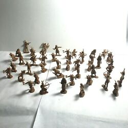 Vintage Plastic Cowboy And Indians Western Figures Toys Miniature Lot Of 46 Indian