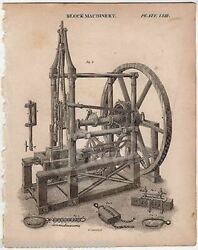 Early Industrial Block Machinery Invention Antique Graphic Engraving Print 1832
