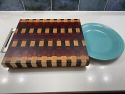 Hand Made Exotic Wood Edge Grain Cutting Board Andldquothe Proandrdquo Magnetic Knife Hold