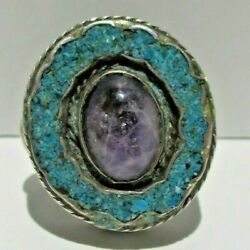 Antique Vintage Sterling Silver And Turquoise Amethyst Ring From Mexico Stamped