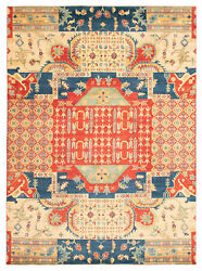 Vintage Geometric Hand-knotted Carpet 9and0399 X 13and0396 Traditional Wool Area Rug