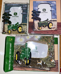 John Deere Tractor Picture Photo Frame 3d Resin Tabletop Displays 4x 6 Lot Of 2