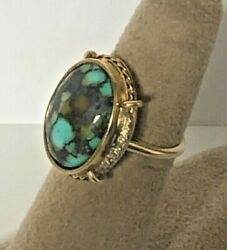 14k Yellow Gold Vintage 60and039s Turquoise Handmade Natural Stone