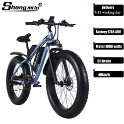 26 Electric Bicycle 1000w Fat Mountain E-bike 48v 40km/h Pedal Assist 21 Speed