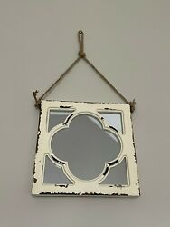 """Alanna Traditional Square Mirror Hanging From Rope, Distressed Look, 12x12"""""""