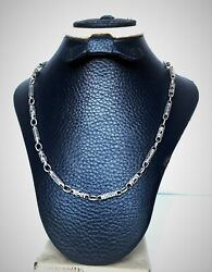 Old Men Chain Necklace Solid 900 Sterling Silver 25 Partial Oxidized Link 31 Gr