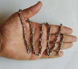 Old Men Chain Necklace Solid 925 Sterling Silver 38 Gr Partial Oxidized Link 24