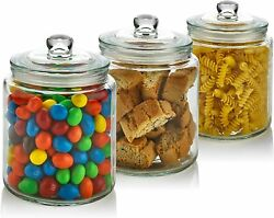 [hot Price] 3 Pc 30oz Clear Glass Storage Jar With Lids-glass Kitchen Containers