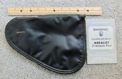 Vintage Browning Black Leather Pistol Padded Case Red Lining Partial Care Book